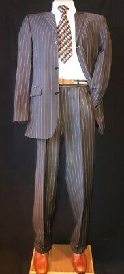 Pinstriped 2 piece suit, Chocolate brown/taupe, Viscose, by 'Anson's', size S...