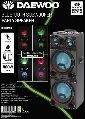 Daewoo 400W Bluetooth Subwoofer Party Color Changing LED Lights Speaker USB Aux