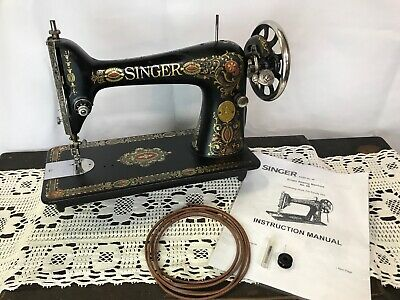 Vtg Antique Singer Red Eye Treadle Sewing Machine Head Ornate Gold Heavy Duty 66