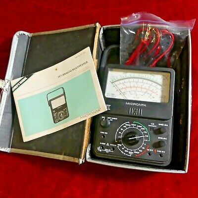 Micronta 22-220 FET Multimeter w case and leads.  Solid state VTVM.