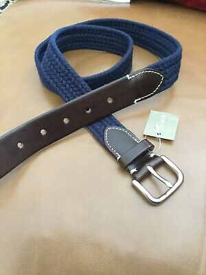 J. Crew Mens Belt NWT 34 Navy Cotton Brown Leather Made in USA!