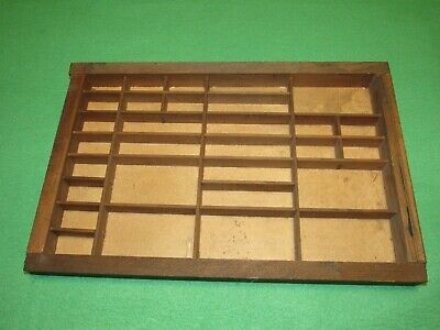 Vintage Wooden Type-setters Tray/Drawer Shadow Boxw/30 slots