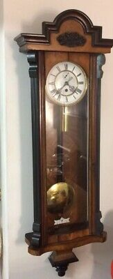 Antique 1 Weight Vienna Regulator Wall Clock Walnut Case
