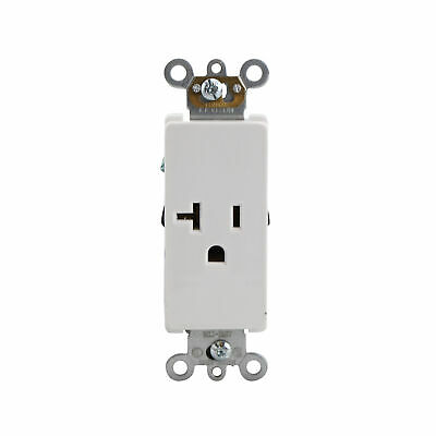 Leviton 16351-W Decora Plus Single Receptacle, 20A, 125V, White (10 Pack)