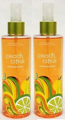 2 Bath & Body Works Signature PEACH CITRUS Fine Fragrance Mist Spray 8 Oz