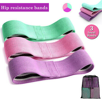 Fabric Resistance Bands Loop Set Yoga Exercise Workout Hip Booty Leg Fitness US