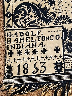 REDUCED a bunch....1853 Coverlet, Nice Blue Color, Hamilton, IN