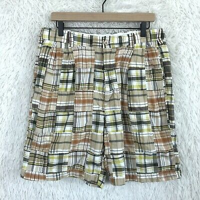 "Jos A Bank Madras Plaid Shorts 8"" Tan Beige Brown Cotton Mens Size 35"