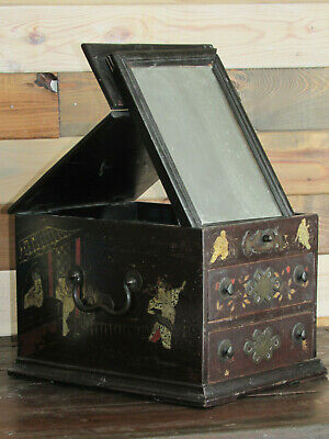 Antique Chinese Lacquered Wood Vanity-Jewelry Box-Chest-Mirrors-Scenes-Signed