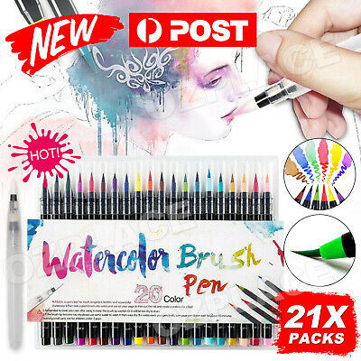 21 Colour Pens Set Watercolor Drawing Painting Brush Artist Sketch Manga Marker