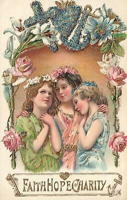 VINTAGE BEAUTIFUL EMBOSSED GOLD GILT FAITH HOPE CHARITY CARD SET of 3 POSTCARDS