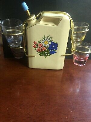 Vintage Bar Decanter With Glasses