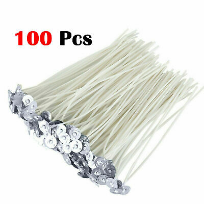 100 Pre Waxed Candle Wicks with Sustainers Long Tabbed for Candle Making Craft