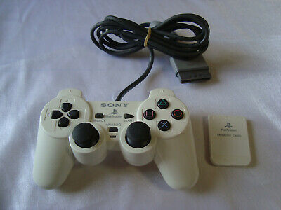 Official SONY PlayStation 1 White Analog DualShock Controller & Memory Card PS1