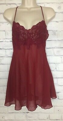 Victoria Secret Lingerie Satiny Nightgown Sheer Lace Maroon Sz Small Gown