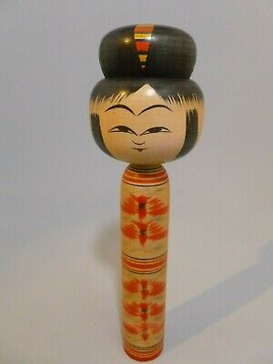 """Japanese Kokeshi Hand Painted Wooden Japan Doll SIGNED 9 1/2"""" Tall Artist Signed"""