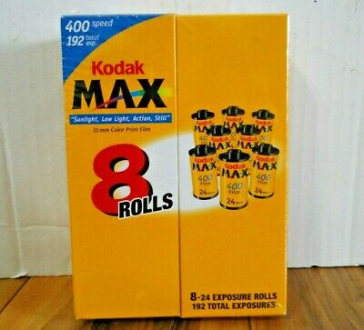 8 Rolls 24 Exp. 192 Total Kodak Max 400 Speed 35mm Color Film - 07/2005