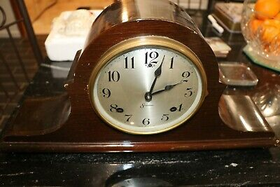 Antique SESSIONS Brand Tambour Style Regulator Mantel Clock, Rings on Gong
