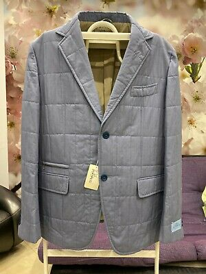 NWT BELVEST PADDED WOOL&SILK LIGHT BLUE BLAZER Size US46 IT56 MADE IN ITALY!