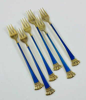 MCM Danish Modern Sterling&Blue Enamel Cocktail Forks Ela Egon Lauridsen in Box