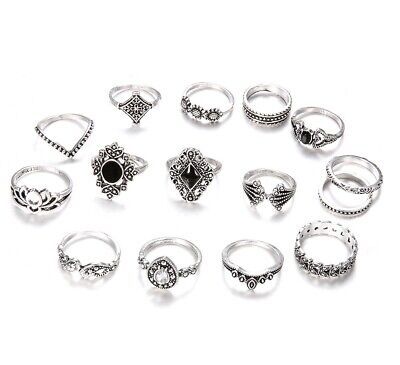 15pcs Silver/Gold Boho Stack Plain Above Knuckle Ring Midi Finger Tip Rings Set