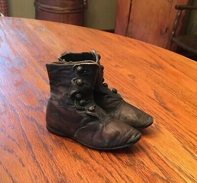 Antique Victorian Childs Leather Button Shoes