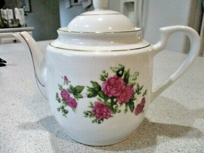 Porcelain Rose Decor Teapot Marked China with a Pagoda