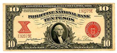 Philippines  ... P-58 ... 10 Pesos ... 1937 ...  Choice *XF* 5 Digits Serial #.