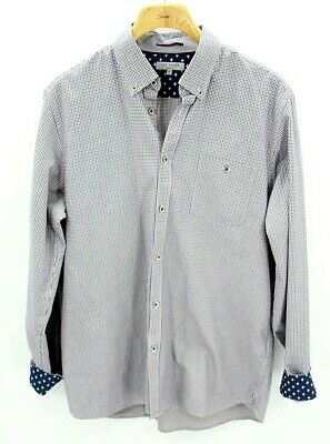 Ted Baker London Mens 6 XXL Blue Plaid Flip Cuff Long Sleeve Button Down Shirt