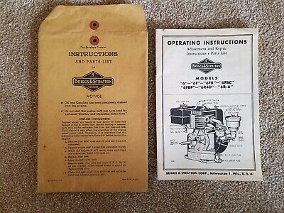 Vintage Briggs & Stratton 6HP Operating Instructions & Parts List.