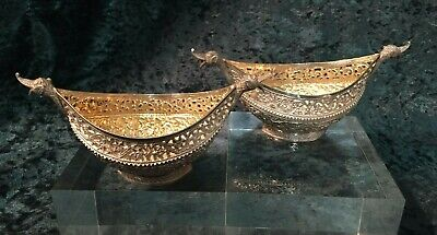 Extraordinary Pair Anglo Indian Silver Kashmir Kashkul Sweetmeat Bonbon Dishes