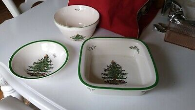 """3PC Spode Christmas Tree Large 10"""" Square Casserole Dish and bowls England"""