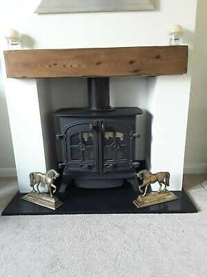 Antique 19th century pair of brass horse fireplace / doorstop ornaments