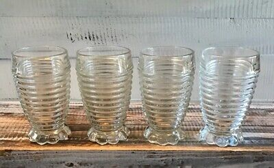 Set 4 1930's Anchor Hocking Manhattan Depression Glass Footed Tumblers Glasses