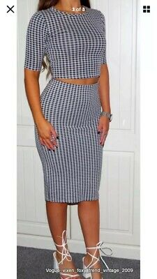 Topshop Gingham Co-Ord Skirt And Top Black & White Size 8