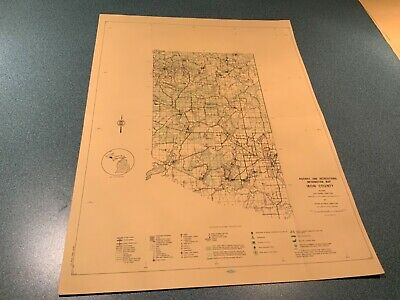 Vintage 1974 Iron County Michigan - DNR Highway & Recreation Information Map