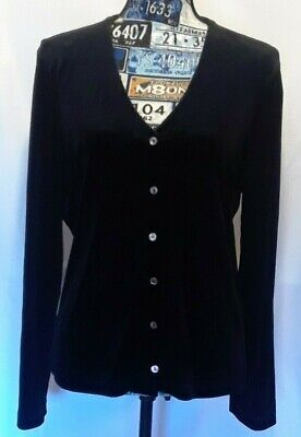 St Michael from Marks & Spencer Womens Sweater Sz 10 Black Velour Button Front