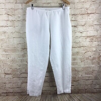 Eileen Fisher Womens White Side Zip Linen Cropped Pants Size Large