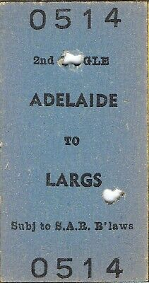 Railway tickets SAR Adelaide to Largs down second class single 1969