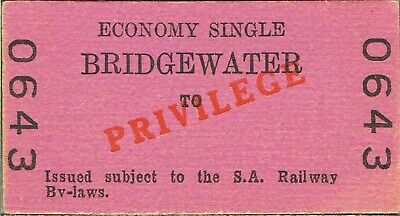 Railway tickets SAR Bridgewater economy privilege single unused