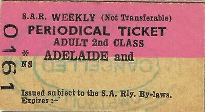 Railway tickets SAR Adelaide periodical ticket unused