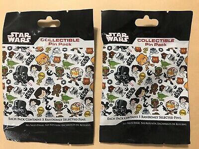 Disney Pin Cute Star Wars Stylized Mystery Pouch Lot of Two Sealed Packs 10 Pins