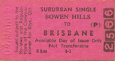 Railway tickets QR Bowen Hills to Brisbane economy single 1983