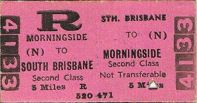 Railway tickets QR South Brisbane to Morningside second class return 1966