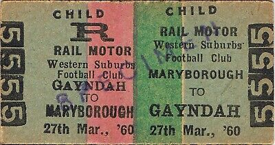 Railway tickets QR Maryborough to Gayndah Western Suburbs Football Club 1960