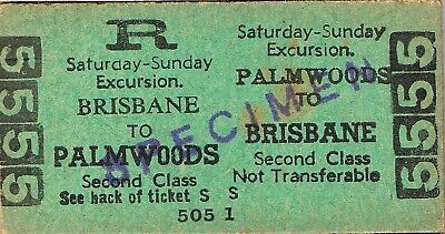 Railway tickets QR Palmwoods to Brisbane second class excursion return