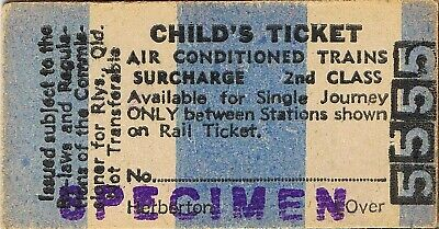 Railway tickets QR Herberton air conditioned train surcharge second class