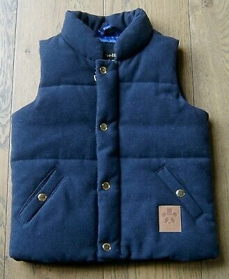 Mini Rodini Boys Navy Wool Blend Padded Zip Front Vest Sz 3 - 5