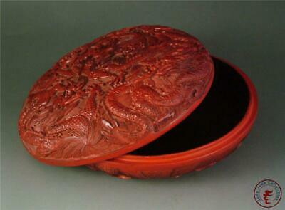 Antique Old Chinese RED LACQUER Carved Jewelry Box Cosmetic Jar POWERFUL DRAGON
