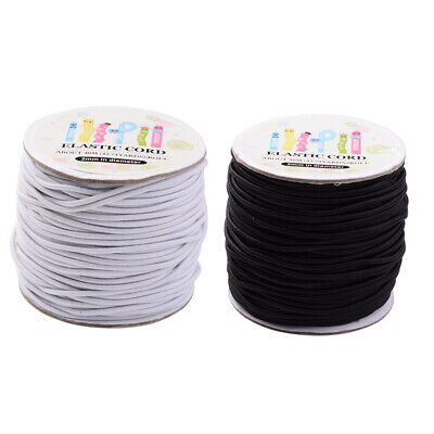 1Roll Round Elastic Cord w/ Nylon Outside Stretch Cord Thread Strings 1mm 2mm